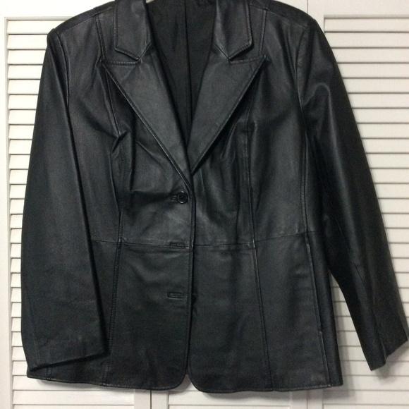 New Directions Jackets & Blazers - Plus Size Black Leather Blazer